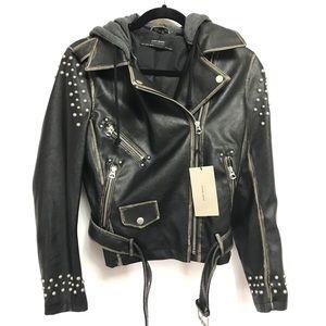 Rare Zara Faux Leather Jacket detachable hoodie